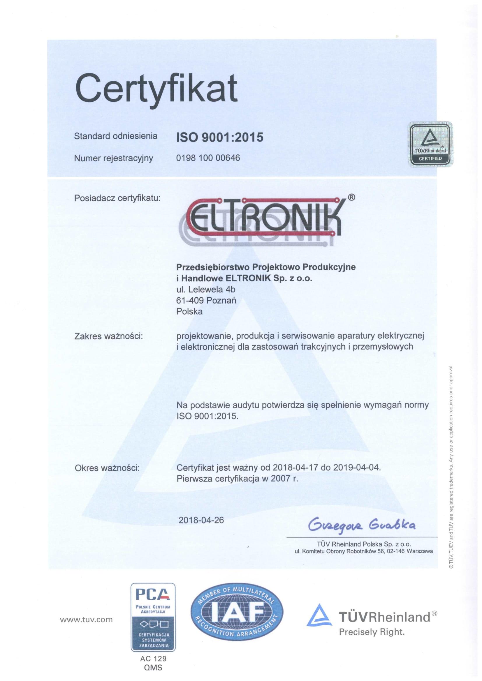 certyfikat ISO 2018 PL-1